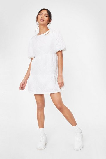 White Quilt Playin' It Cool Petite Puff Sleeve Mini Dress