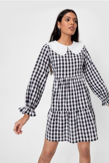White Gingham a Hint Collar Mini Dress