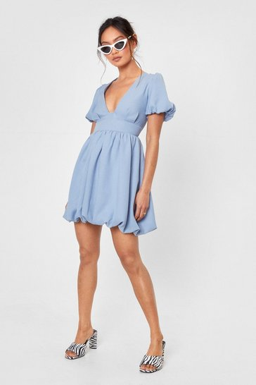 Blue V You Later Petite Puff Sleeve Mini Dress