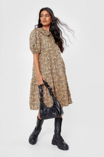 Brown Collar Their Bluff Leopard Midi Dress
