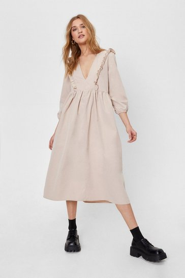 Camel Low Back Ruffle Midi Smock Dress