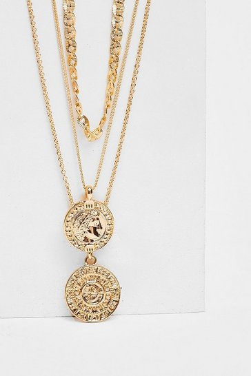 Gold Triple Layered Coin Chain Necklace