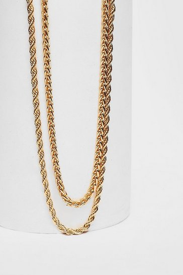 Gold Plated Double Layer Rope Chain Necklace