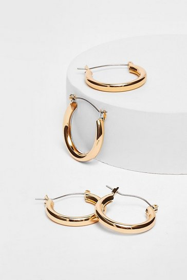 Gold Plated Medium Hoop Earring Two Pack