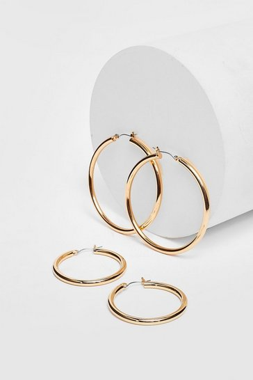 Gold Plated Large Hoop Two Pack