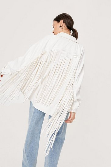 White Fringed Faux Leather Shirt Jacket