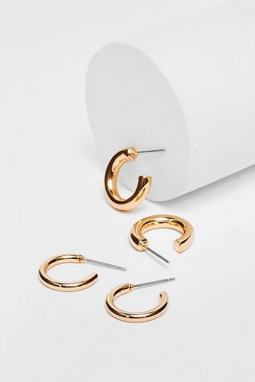 Gold Plated Small Hoop Earring Two Pack