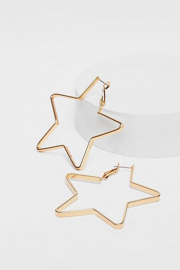 Gold Plated Star Hoop Earrings