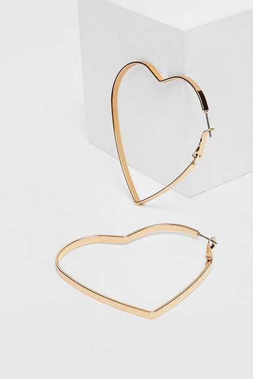 Gold Plated Heart Hoop Earrings