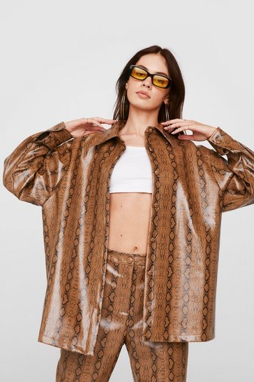 Tan Faux Leather Snake Print Shirt Jacket