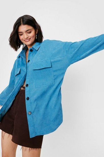 Light blue Oversized Pocket Button Down Shirt Jacket