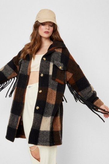 Brown Fringe Can Only Get Better Check Longline Jacket