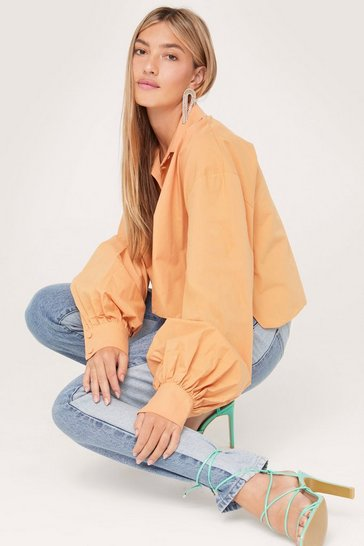 Tan Organic Cotton Cropped Button Down Shirt