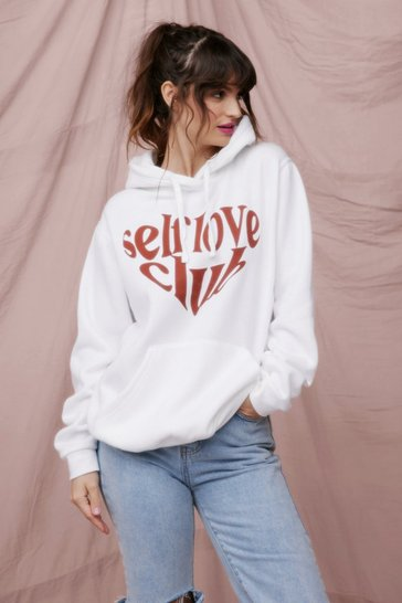 White Self Love Club Oversized Graphic Hoodie