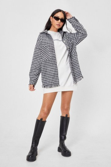 Black Gingham What They Want Oversized Shirt Jacket