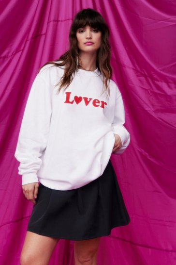 White Lover Oversized Graphic Sweatshirt