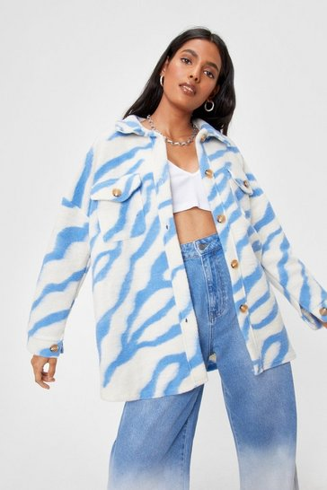 Blue In Your Wildest Dreams Zebra Faux Wool Shirt Jacket