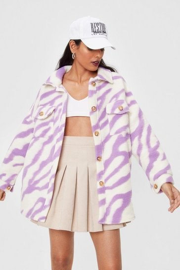 Purple In Your Wildest Dreams Zebra Faux Wool Shirt Jacket