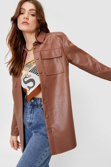 Chocolate Faux Leather Oversized Button Down Shirt Jacket