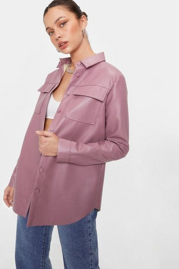 Lipstick Faux Leather Oversized Button Down Shirt Jacket