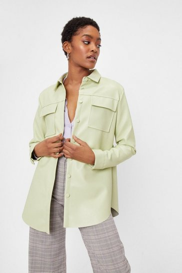 Sage Faux Leather Oversized Button Down Shirt Jacket