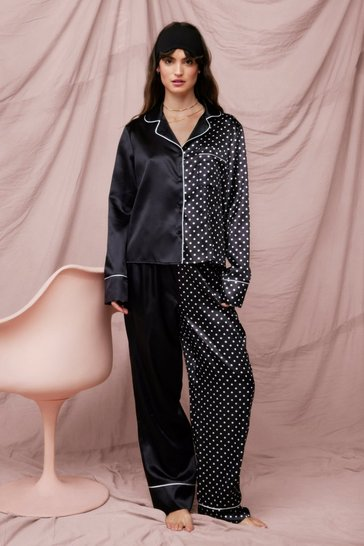 Black Pick Your Side Satin Polka Dot Pyjama Trousers Set