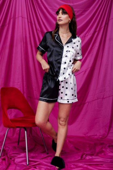 Black Spot Causing Drama Satin Pajama Shorts Set