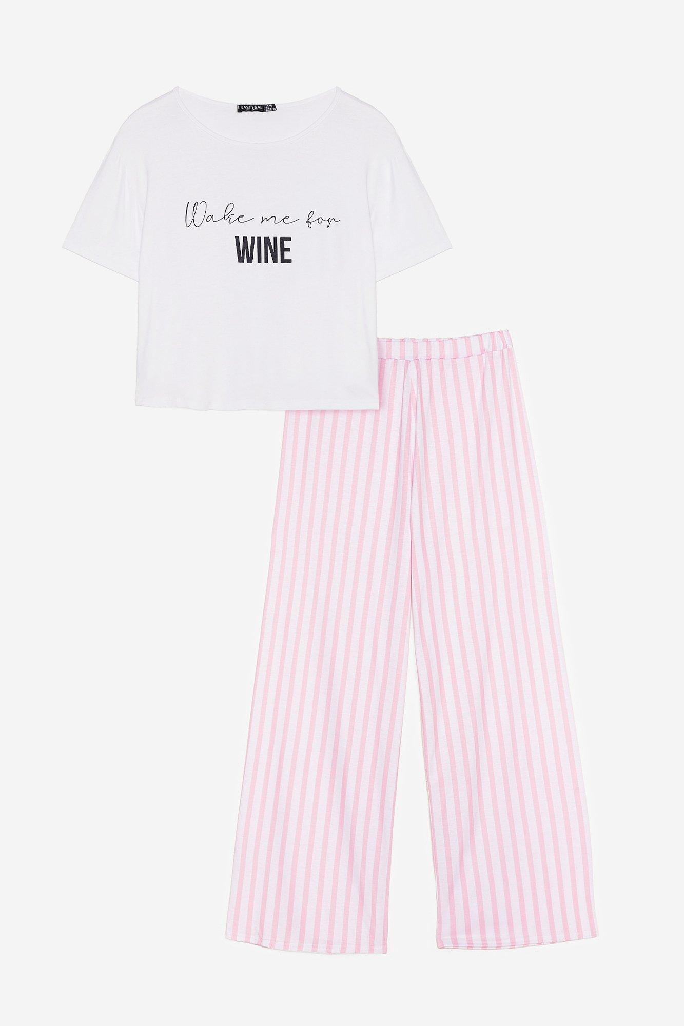 Wake Me for Wine Plus Pajama Pants Set 17