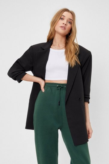 Oversized Asymmetric Button Blazer Suit