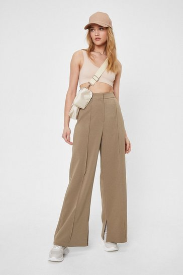 Sage Tailored Front Seam Wide Leg Pants