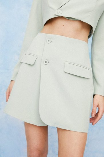 Sage Asymmetric Tailored Wrap Mini Skirt