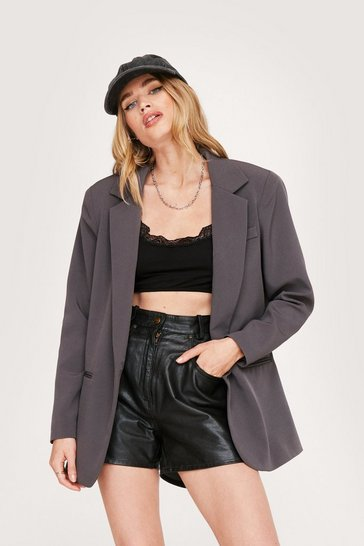 Grey Shoulder Padded Oversized Blazer