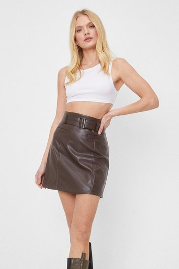 Chocolate Belt of My Love Faux Leather Mini Skirt