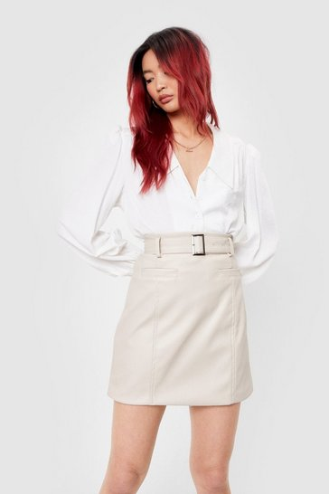 Ecru Faux Leather Buckle Belted Mini Skirt