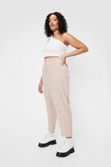 Camel Plus Size Check Tailored Pants