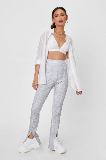 Grey Snake a Break Petite High-Waisted Slit Pants