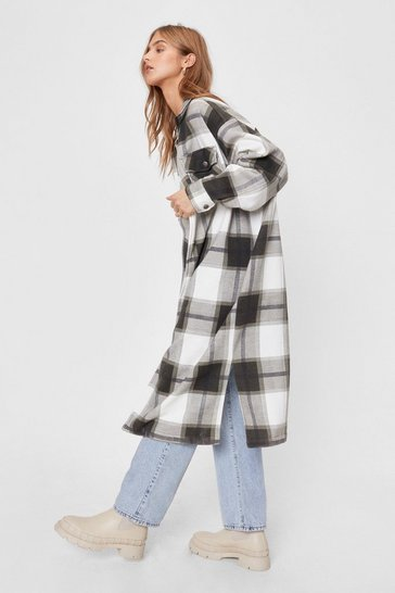 Khaki Check Print Oversized Longline Shirt Jacket