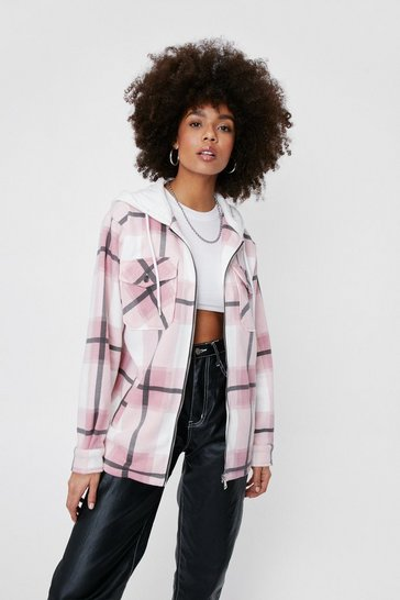 Pink Check Print Oversized Hooded Shirt Jacket