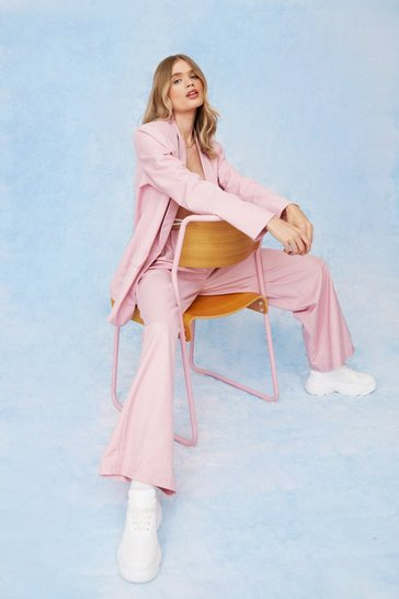 Baby pink Oversized Tailored Long Sleeve Blazer