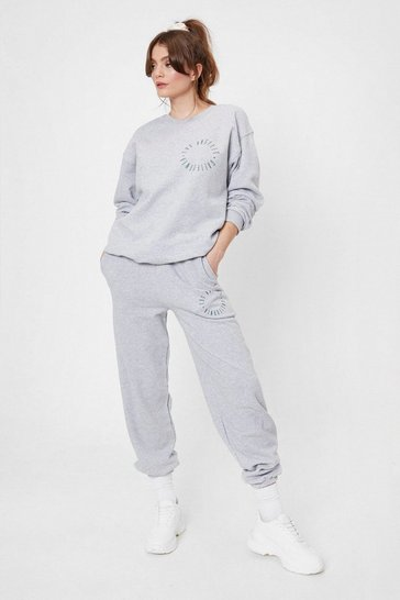 Grey marl Loss Angeles Graphic High Waisted Sweatpants