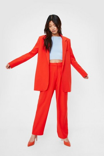 Red High Waisted Straight Leg Tailored Pants