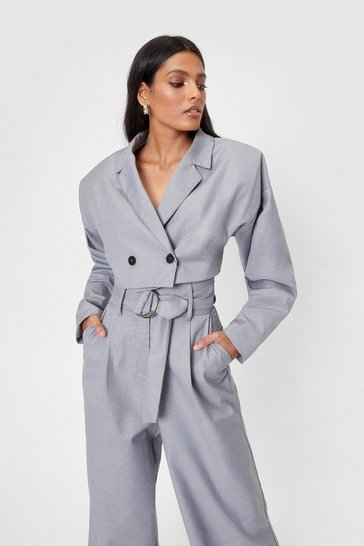 Grey Padded Shoulder Double Breasted Cropped Blazer
