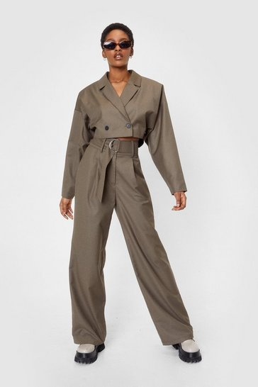 Khaki Belted High Waisted Wide Leg Pants