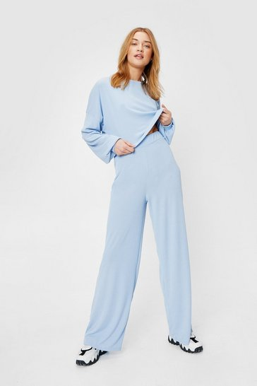 Light blue Recycled Ribbed Wide Leg Pants Lounge Set