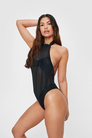 Black Mesh High Neck Open Back Swimsuit