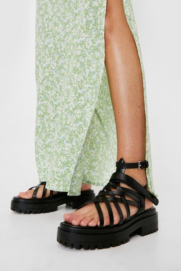 Black Faux Leather Strappy Platform Sandals