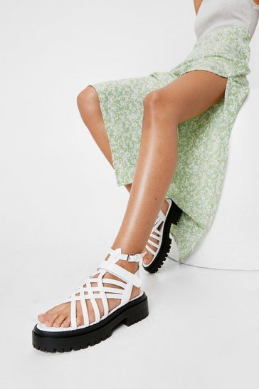 White Faux Leather Strappy Platform Sandals