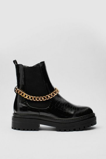 Black Chain Croc Embossed Chelsea Boots