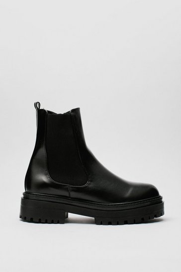 Black Chunky Platform Faux Leather Chelsea Boots