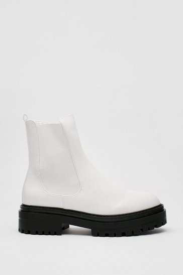 White Chunky Platform Faux Leather Chelsea Boots